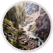 Falls Below Rimrock Lake Round Beach Towel