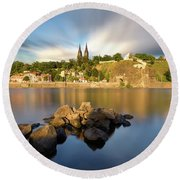 Famous Vysehrad Church During Sunny Day. Amazing Cloudy Sky In Motion. Vltava River, Prague, Czech Republic Round Beach Towel