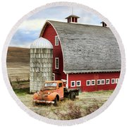 Round Beach Towel featuring the photograph Farm Truck by Steve McKinzie