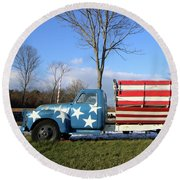 Farm Truck Wading River New York Round Beach Towel