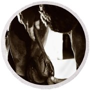 Round Beach Towel featuring the photograph Farrier At Work by Angela Rath