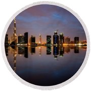 Fascinating Reflection Of Tallest Skyscrapers In Bussiness Bay D Round Beach Towel
