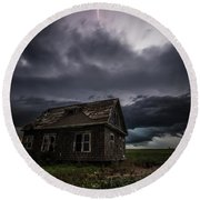 Round Beach Towel featuring the photograph Fear by Aaron J Groen