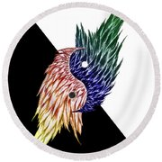 Feathered Ying Yang  Round Beach Towel
