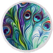 Feathers Peacock Abstract Round Beach Towel