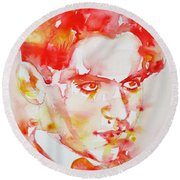 Round Beach Towel featuring the painting Federico Garcia Lorca - Watercolor Portrait by Fabrizio Cassetta