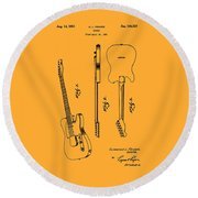 Fender 1951 Electric Guitar Patent Art - B  Round Beach Towel