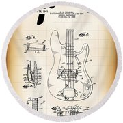 Fender Bass Electric Guitar Patent 1961 Round Beach Towel