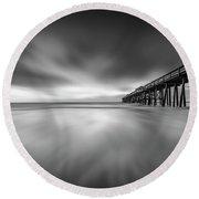 Round Beach Towel featuring the photograph Fernandina Beach Pier by Peter Lakomy