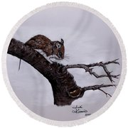 Field Mouse Round Beach Towel by Judy Kirouac