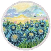 Field Of Blue Flowers Round Beach Towel