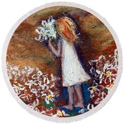 Field Of Flowers Round Beach Towel