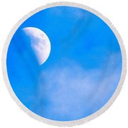 Finally Some #bluesky And The #moon Round Beach Towel by Austin Tuxedo Cat