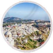 Fira, Santorini - Greece Round Beach Towel