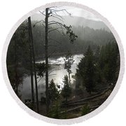 Firehole River In Yellowstone Round Beach Towel