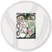 First Kiss Round Beach Towel