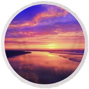 First Light At The Beach Round Beach Towel