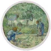 First Steps, After Millet, 1890 Round Beach Towel