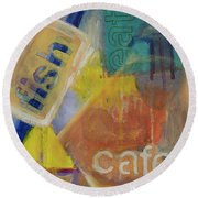 Round Beach Towel featuring the painting Fish Cafe by Susan Stone