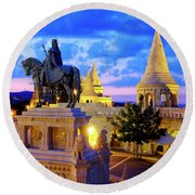 Round Beach Towel featuring the photograph Fisherman's Bastion by Fabrizio Troiani