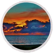 Fishing At Sunset Round Beach Towel by Craig Wood
