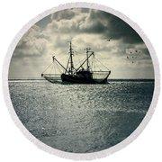 Fishing Boat Round Beach Towel by Joana Kruse