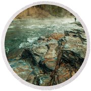 Round Beach Towel featuring the photograph Fishing Day by Iris Greenwell