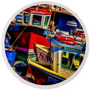 Fishing Fleet Round Beach Towel by Chris Lord