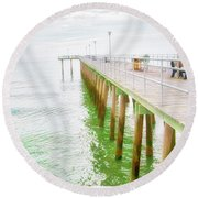 Fishing Pier, Margate, New Jersey Round Beach Towel