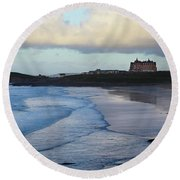 Round Beach Towel featuring the photograph Fistral Beach by Nicholas Burningham