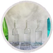 Five Bottles Round Beach Towel