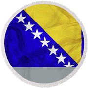 Flag Of Bosnia Round Beach Towel
