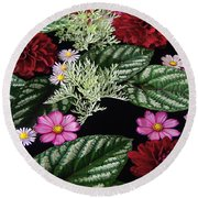 Round Beach Towel featuring the photograph Floating Flower Bouquet by Byron Varvarigos