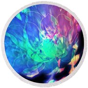 Floral Abstract 17-01 Round Beach Towel
