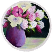 Floral Delight Round Beach Towel