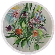 Flowers In Vase Round Beach Towel by Rita Fetisov
