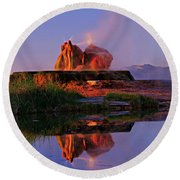 Round Beach Towel featuring the photograph Fly Geyser At Dawn by Sean Sarsfield
