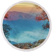 Fog In The Valley Round Beach Towel by Marc Crumpler