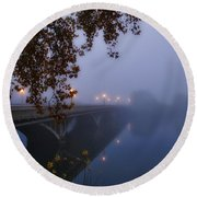 Fog On The River Round Beach Towel