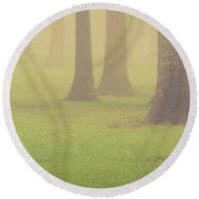 Foggy Trees Pano Round Beach Towel