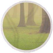Round Beach Towel featuring the photograph Foggy Trees Pano by Joye Ardyn Durham