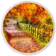 Fall Foliage Path 2 Round Beach Towel