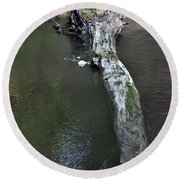 Round Beach Towel featuring the photograph Footbridge by Skip Willits