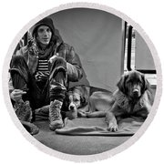 For The Love Of Dog Round Beach Towel