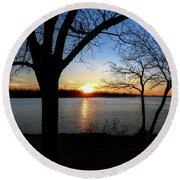 Ford Lake Sunset Round Beach Towel