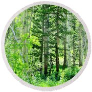 Forest Green Round Beach Towel