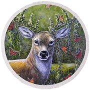 Forest Monarch Round Beach Towel