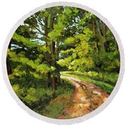 Forest Pathway Round Beach Towel