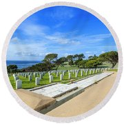 Fort Rosecrans National Cemetery Round Beach Towel
