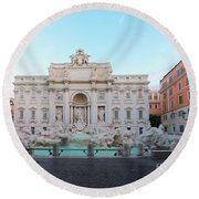Fountain Di Trevi And Sunrise, Rome Round Beach Towel
